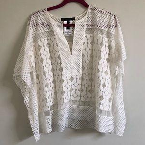 BCBG White Lace Tunic Top